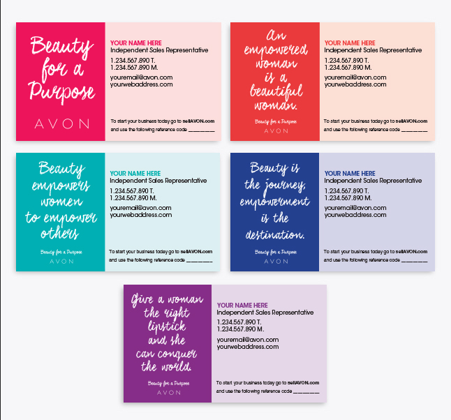 Dress up your avon business avon independent sales representative avon slogan business cards reheart Choice Image